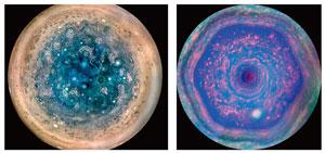 木星の南極/土星の北極